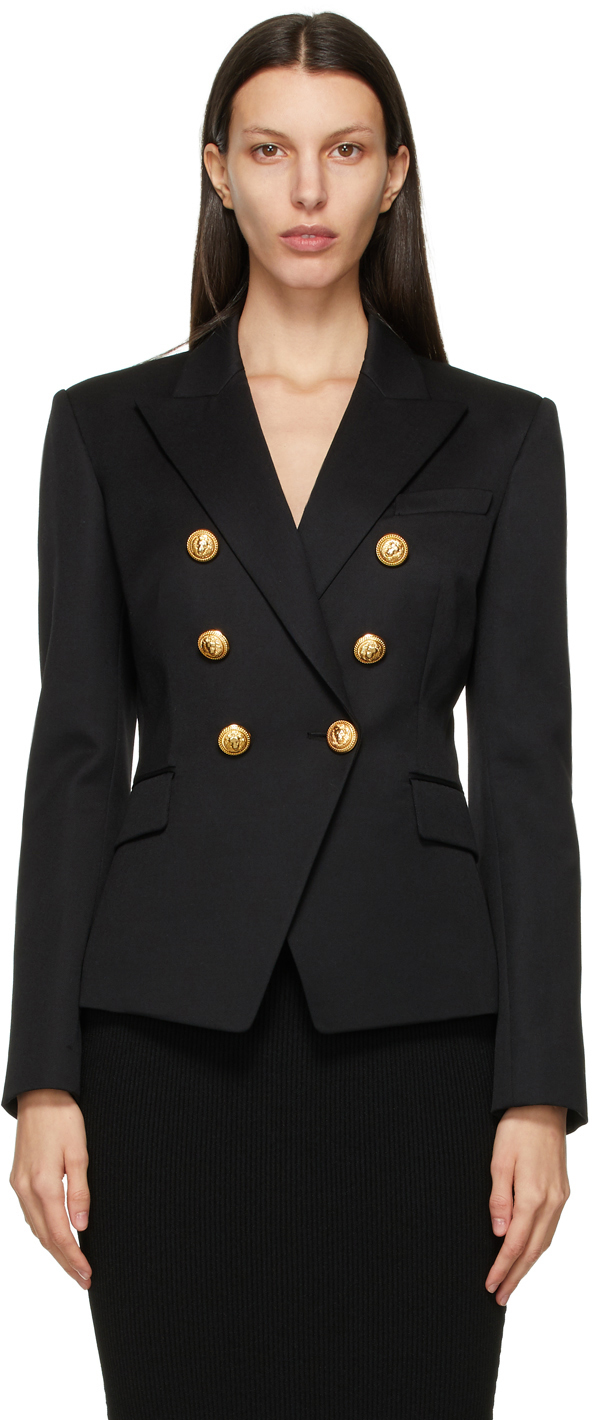 Black Wool 6-Button Permanent Blazer