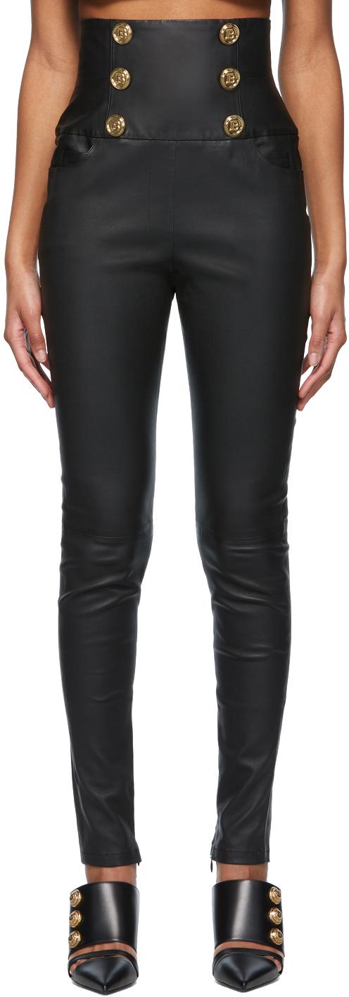 Black Leather High-Waisted Skinny Pants