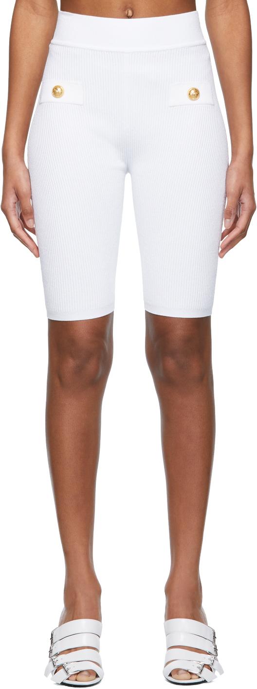 White Rib Knit Cycling Shorts