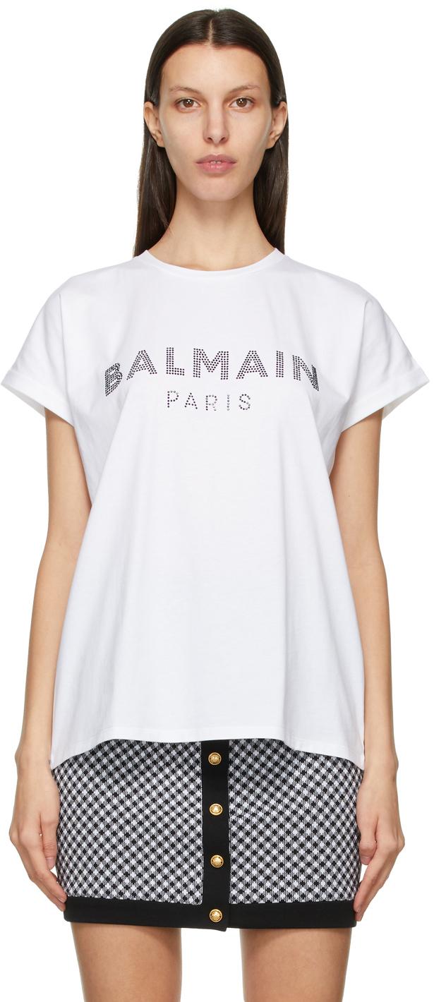 Balmain 白色 Rhinestone Logo T 恤