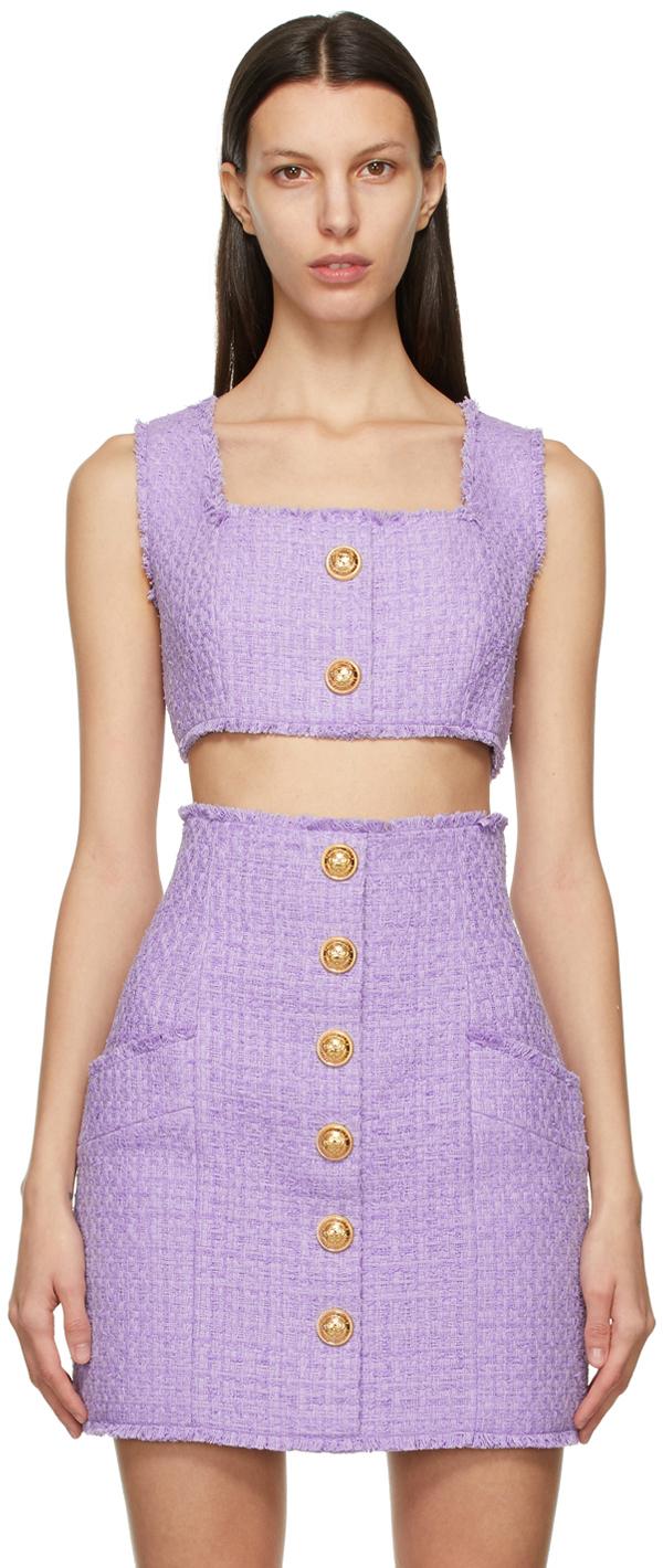 Balmain 紫色方领背心
