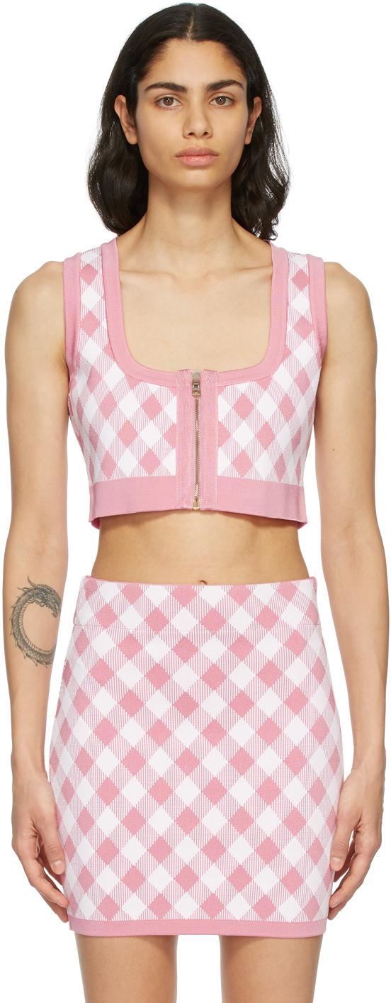 Pink & White Check Cropped Tank Top