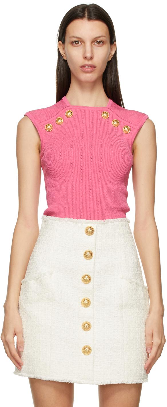 Balmain 粉色 Button 背心