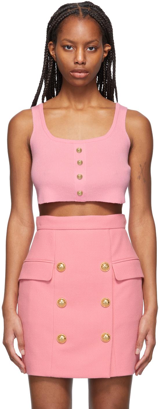 Balmain 粉色短款背心
