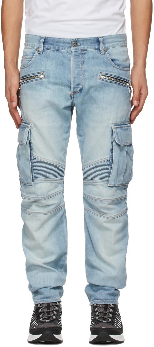 Balmain 蓝色锥形牛仔裤