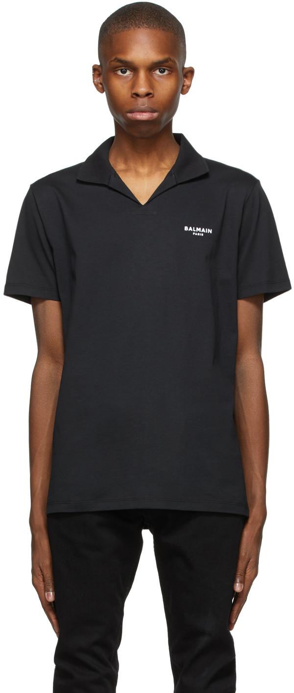 Balmain 黑色植绒徽标 Polo 衫