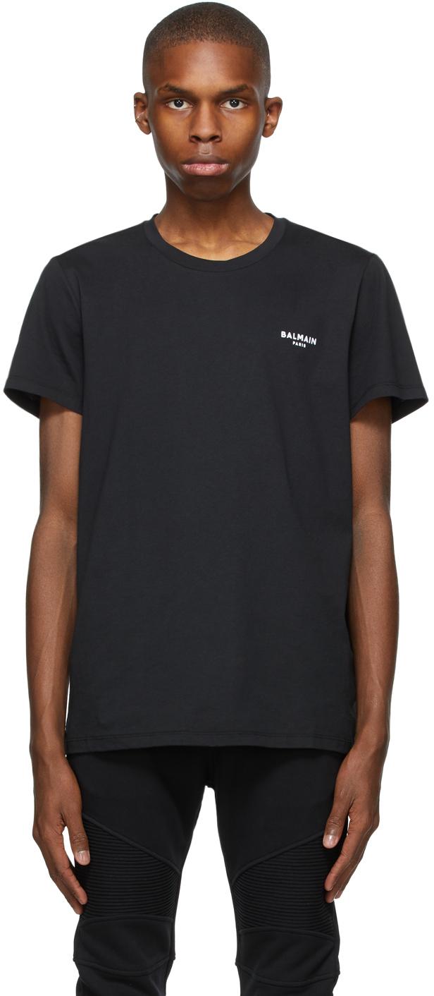 Balmain 黑色植绒徽标 T 恤