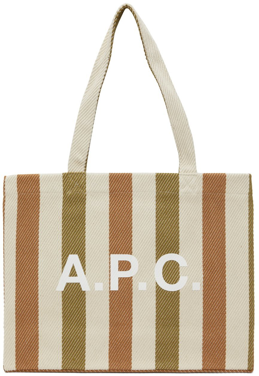 Beige Canvas Striped Diane Shopping Tote