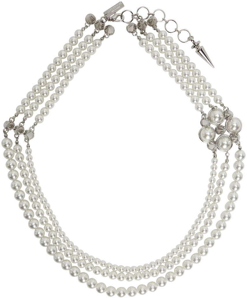 White & Silver Pearl Stud Necklace