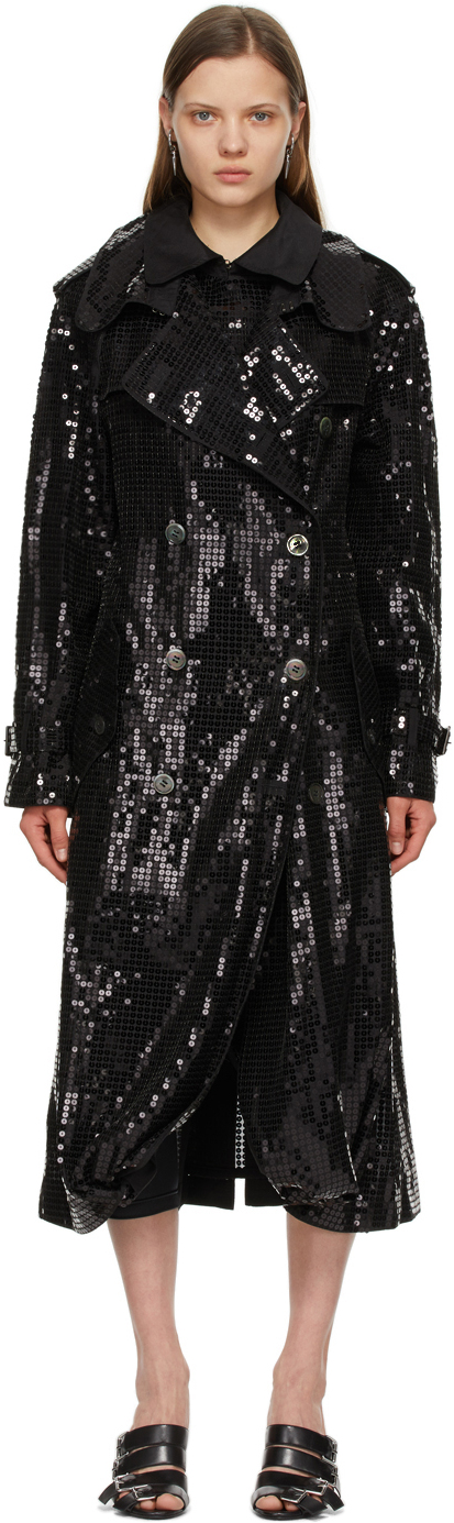 Black Sequin Organdy Double-Breasted Trench Coat