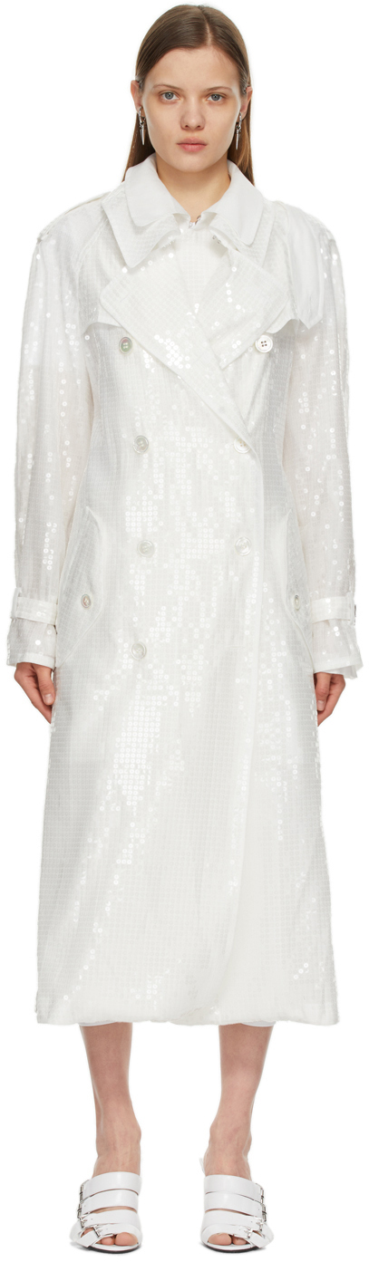 White Sequin Organdy Double-Breasted Trench Coat