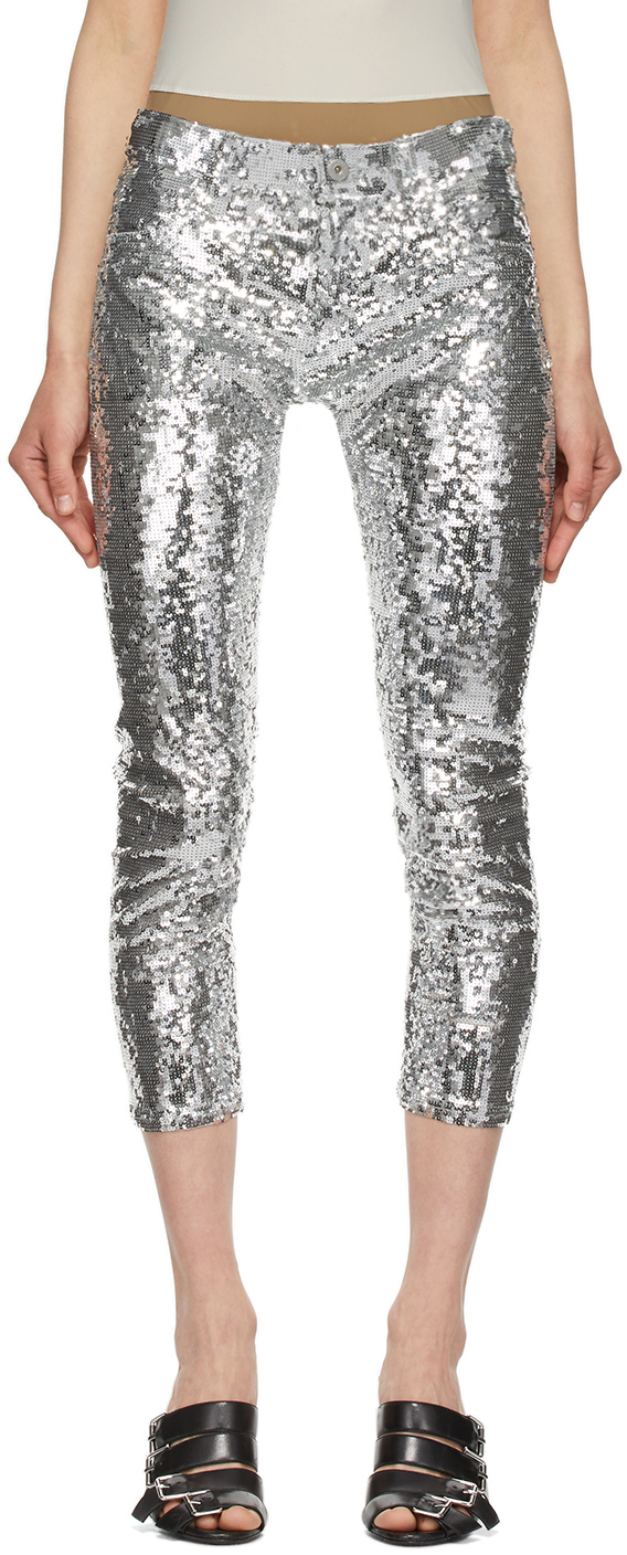 Silver Sequin Cropped Trousers