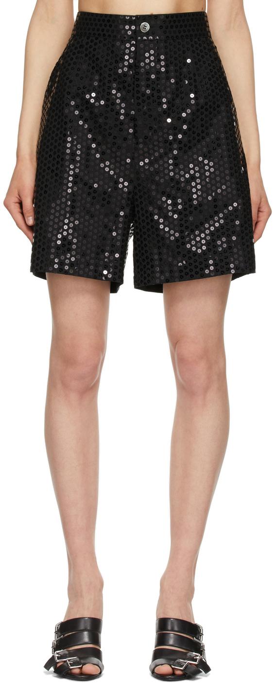 Black Wool Sequin Boy Shorts