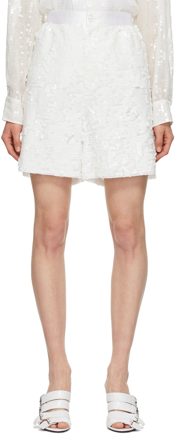 White Sequin Wide Shorts