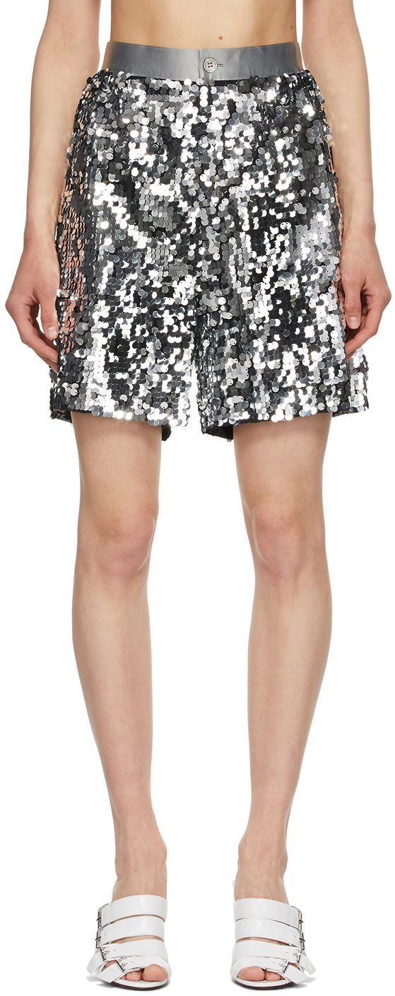 Black & Silver Sequin Wide Shorts