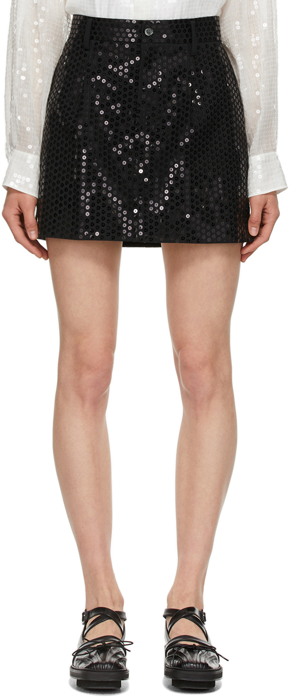 Black Wool Sequin Miniskirt