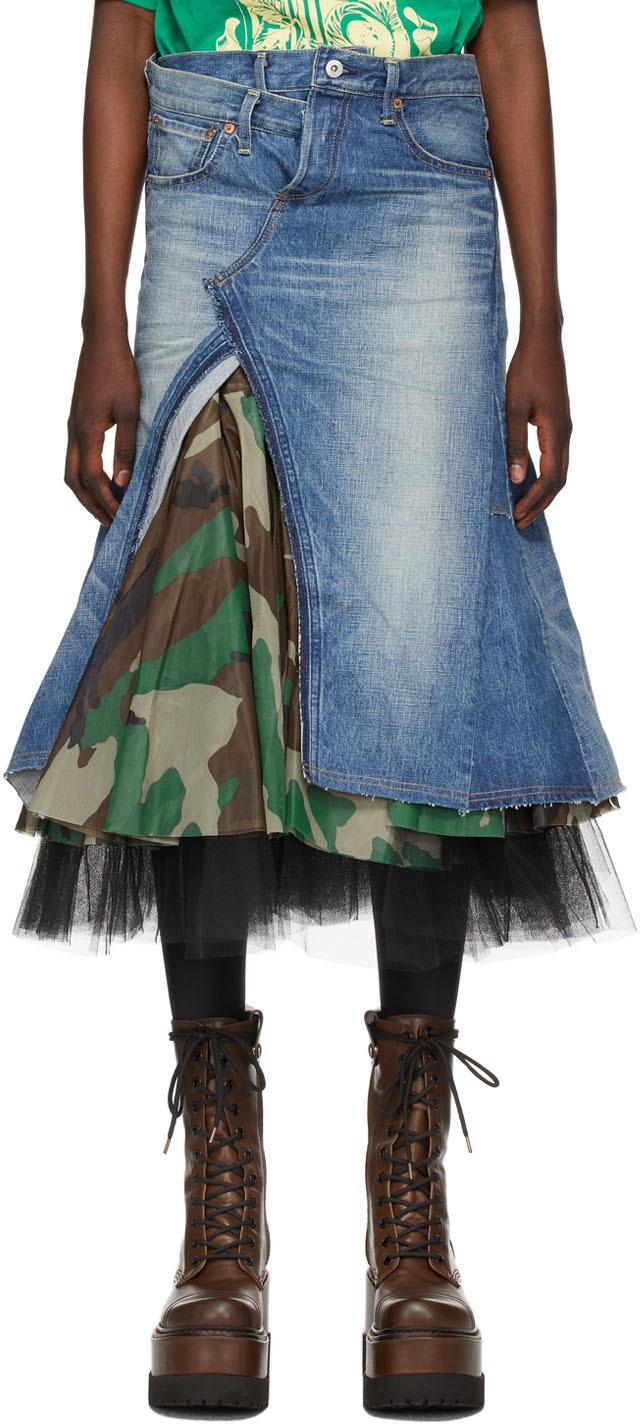 Blue Denim & Tulle Skirt