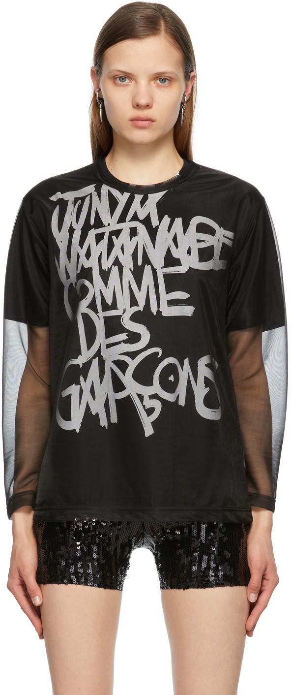 Black Mesh Long Sleeve T-Shirt