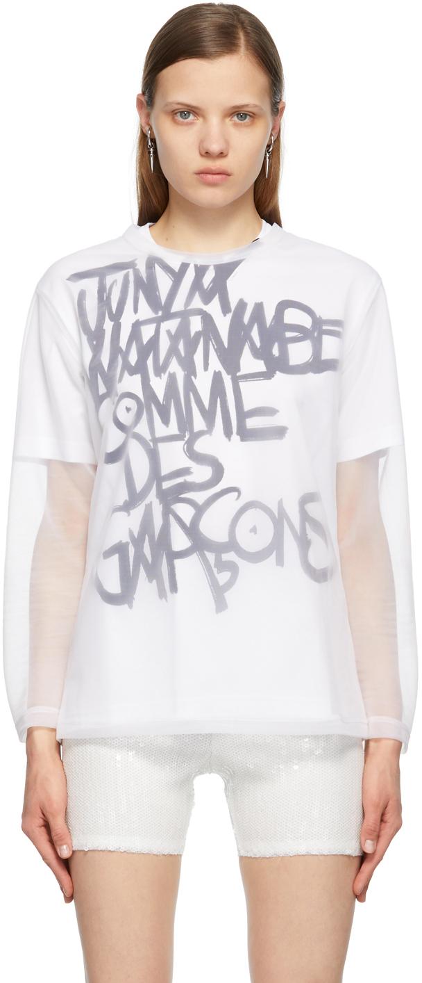White Mesh Long Sleeve T-Shirt
