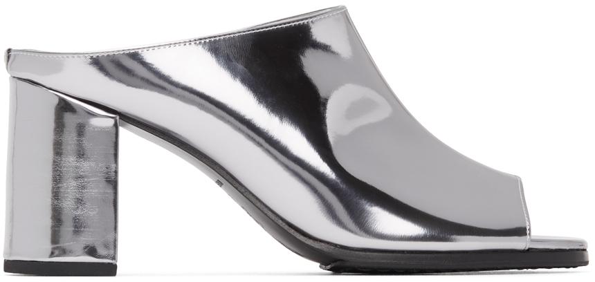 Silver Slip-On Heeled Sandals