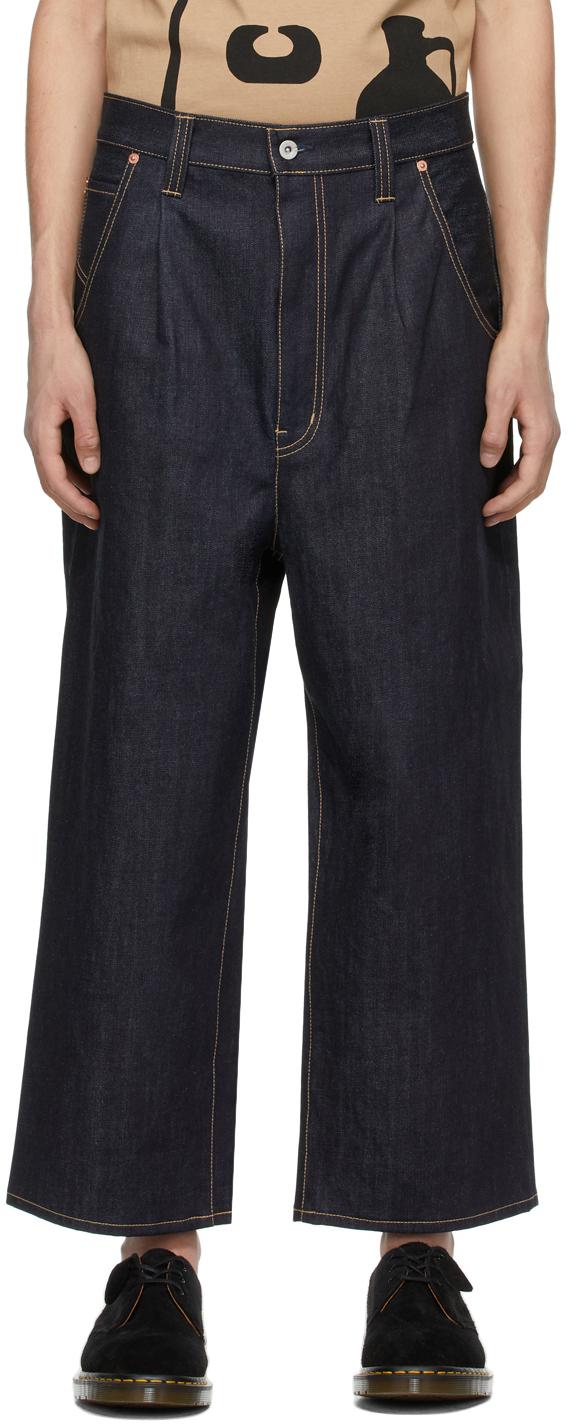 Indigo Pleated Wide-Leg Jeans