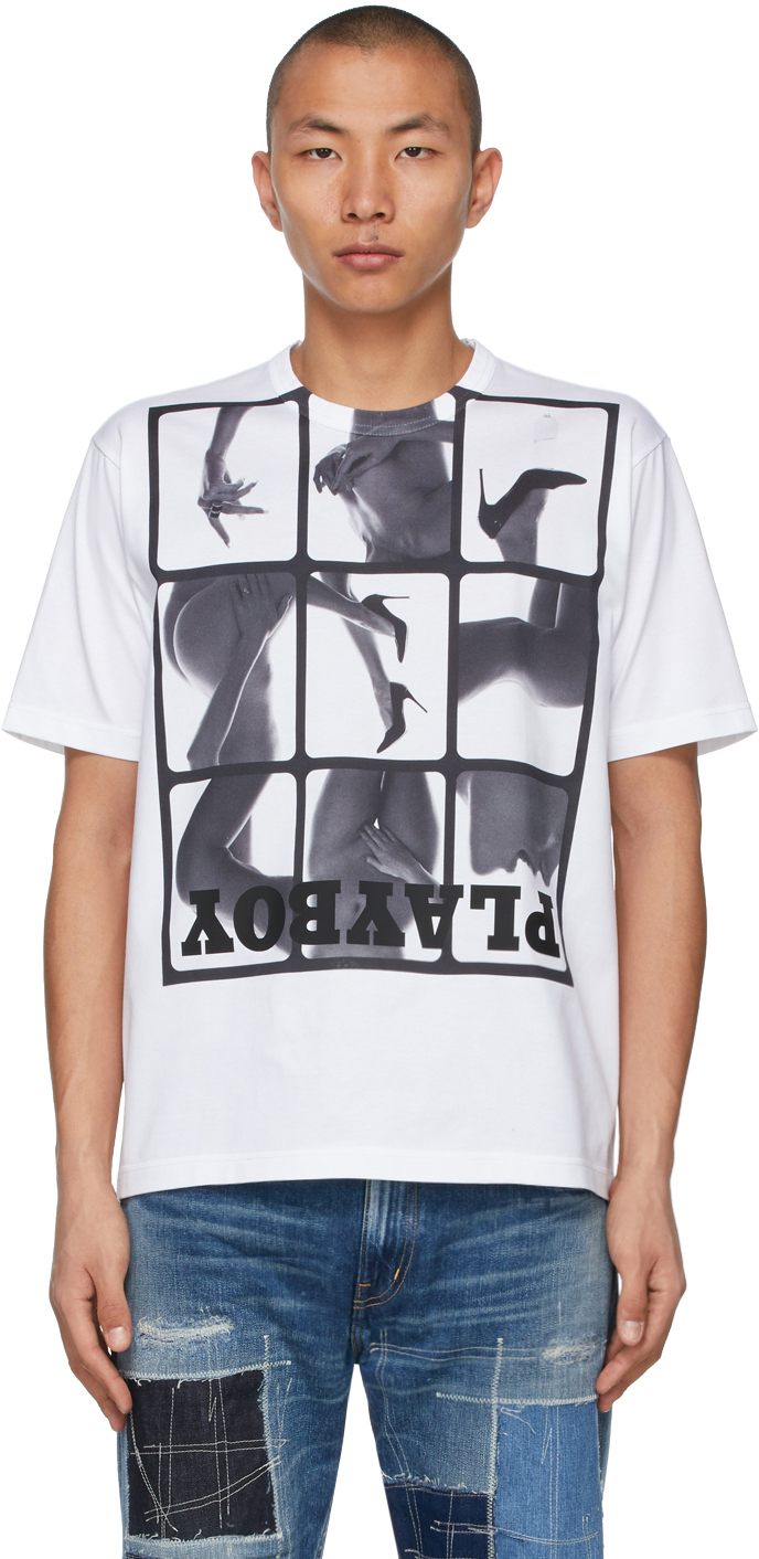 White Playboy Edition Collage T-Shirt