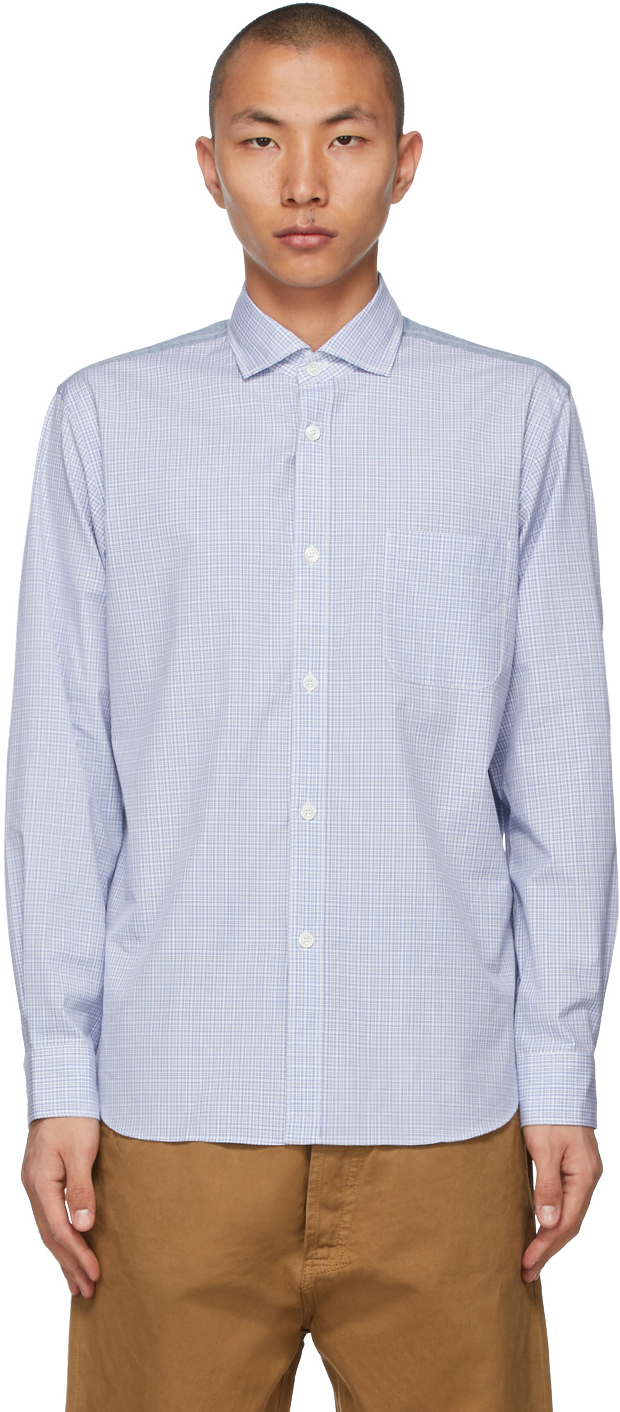 White & Blue Check x Herringbone Shirt