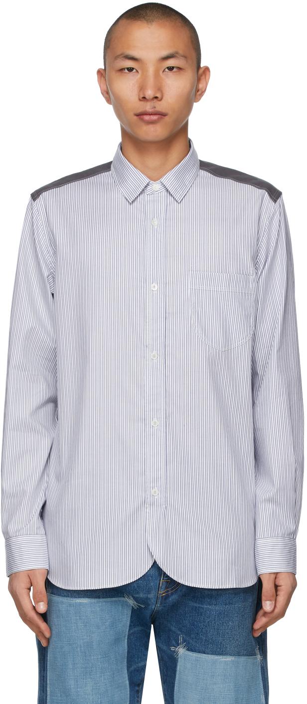 White & Blue Stripe x Check Shirt