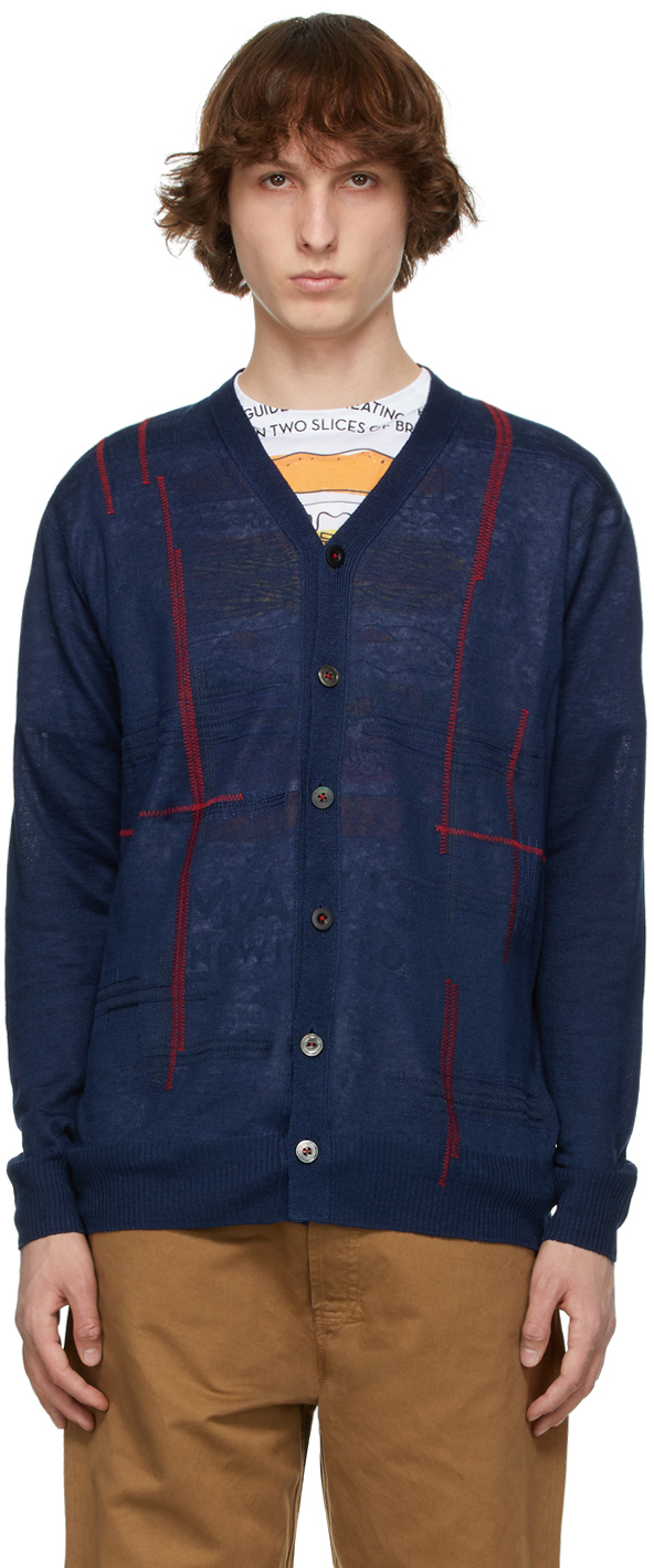 Navy Linen Jersey Embroidery Cardigan