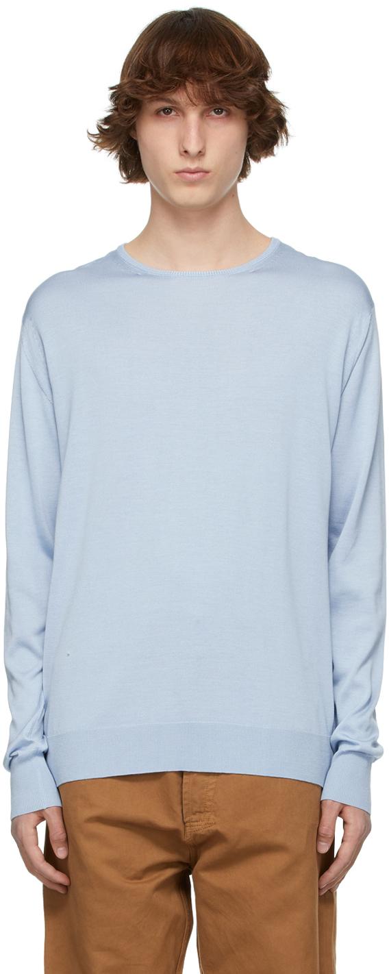 Blue Silk Jersey Thin Sweater