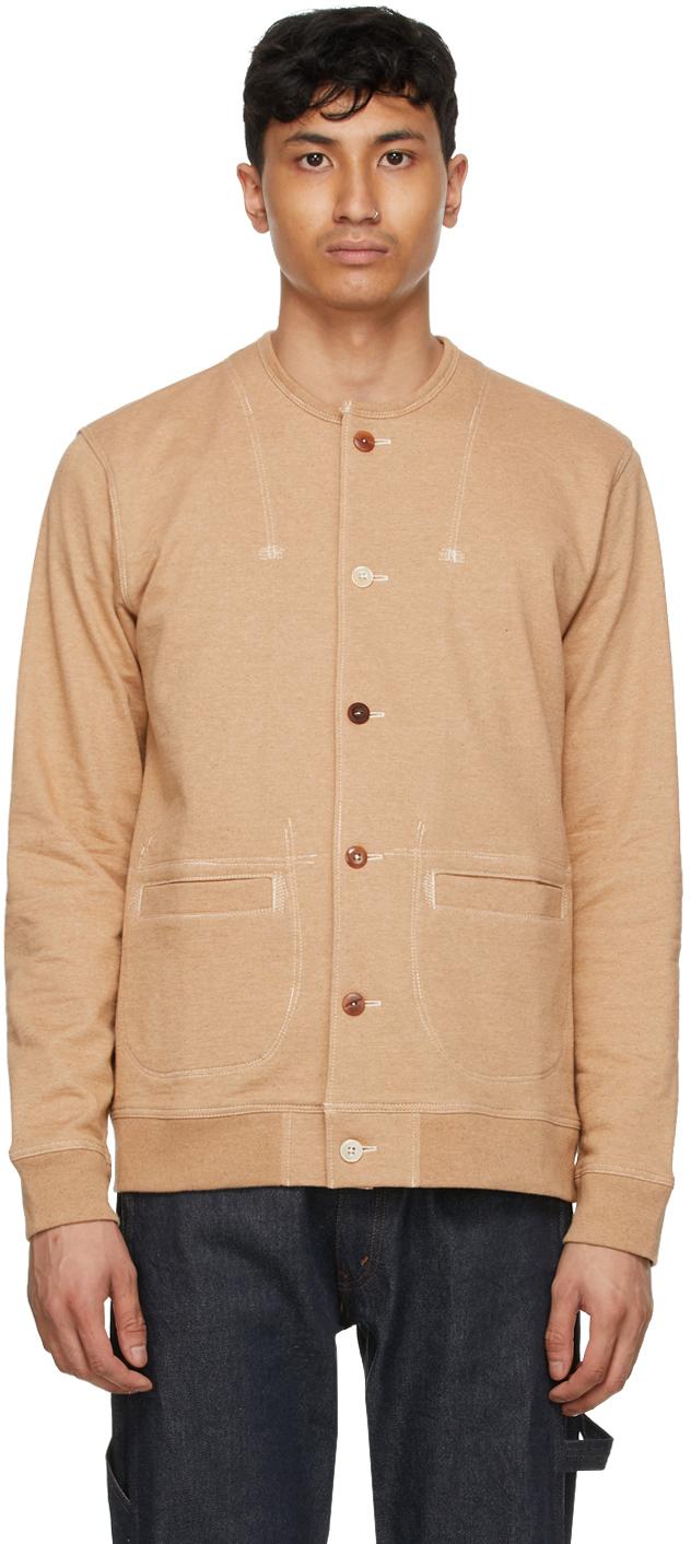 Beige Button 'Man' Cardigan