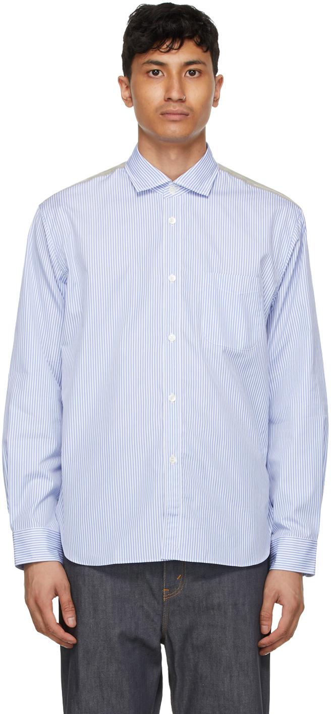 Blue & White Paneled Stripe Check Shirt