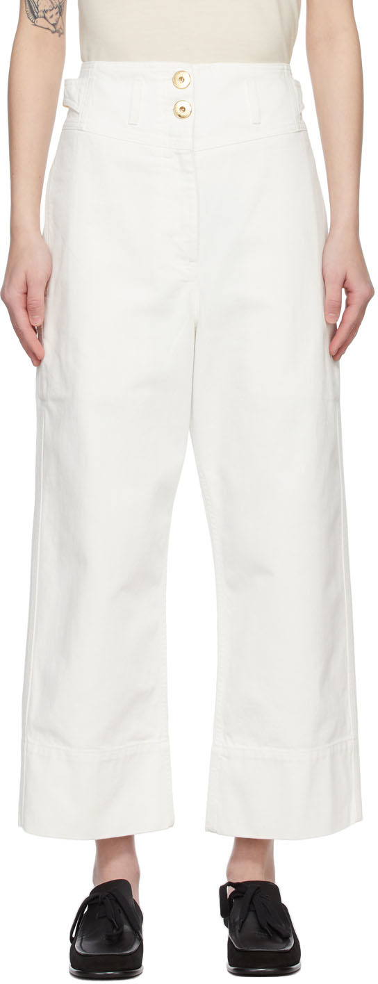 White High-Waisted Crop Jeans