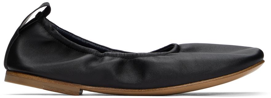 Black Nappa Leather Ballerina Flats