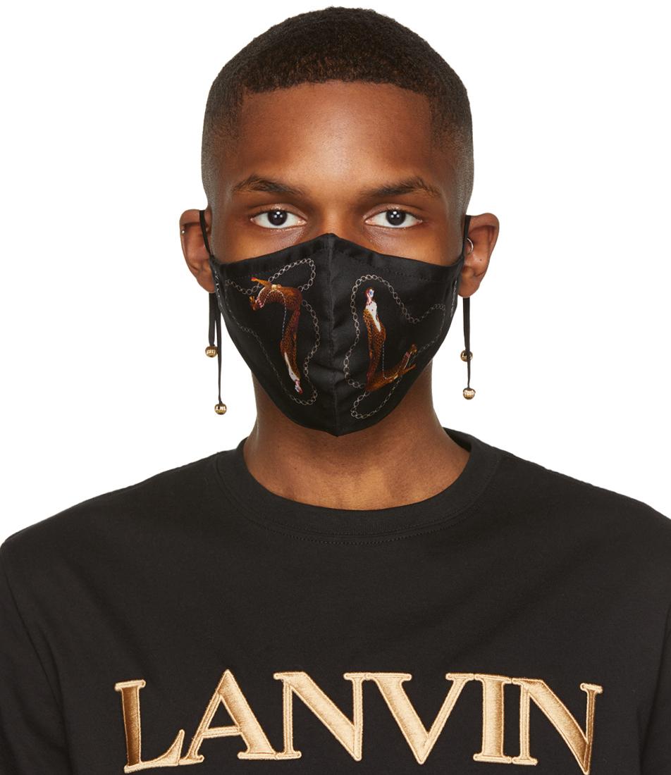 Lanvin 黑色 Leopard 真丝口罩