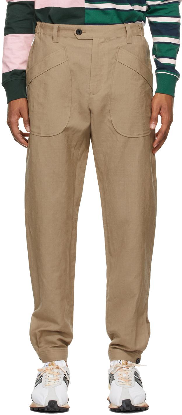 Tan Linen Jogger Trousers