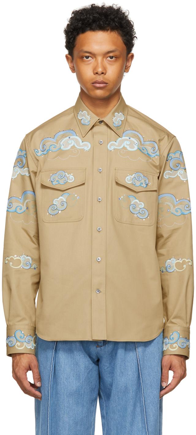Beige Embroidered Shirt