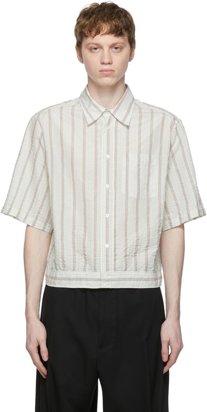 Blue & White Seersucker Striped Blouson Shirt