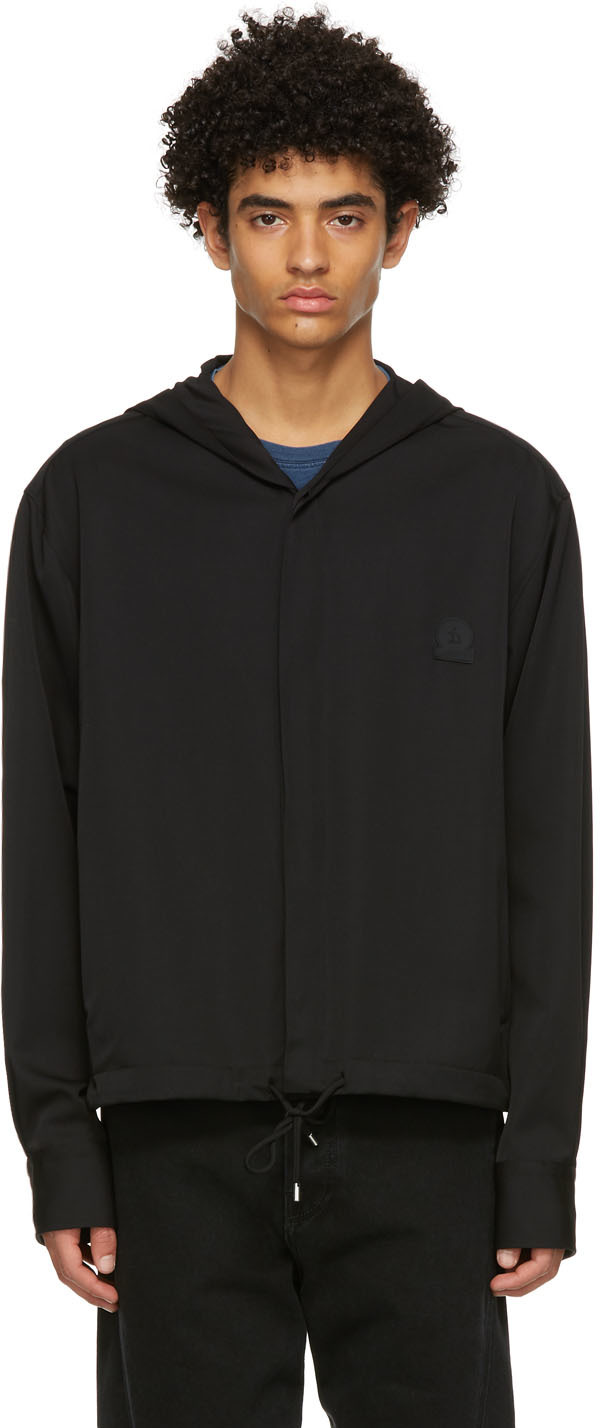 Black Wool Hooded Shirt