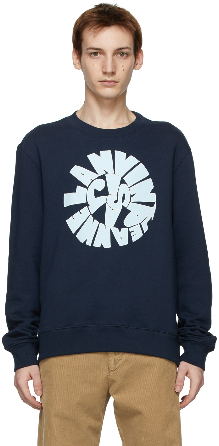Navy Logo Printed Sweatshirt