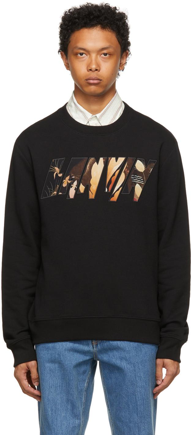 Black Logo Applied Angel Sweatshirt