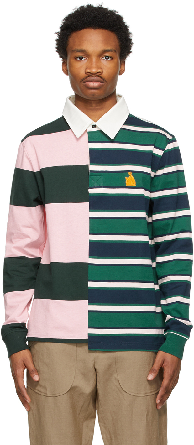 Multicolor Patchwork Long Sleeve Polo
