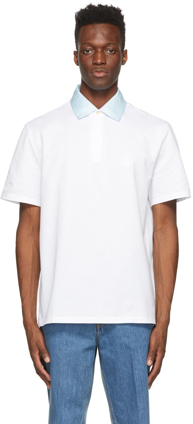 White Grosgrain Collar Polo