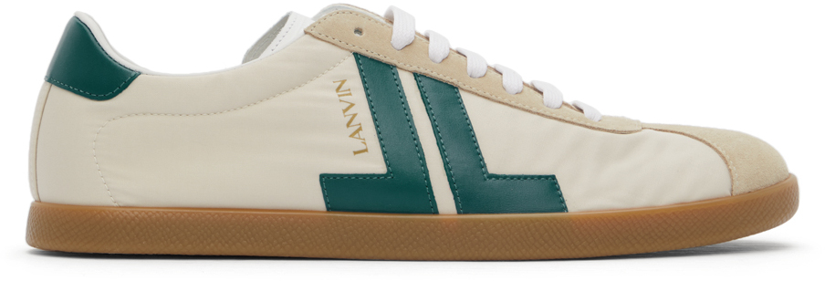 Lanvin Beige & Blue Canvas Glen Sneakers