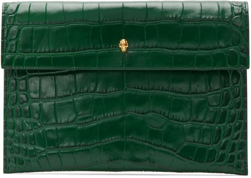 Alexander McQueen 绿色 Skull Envelope 鳄鱼纹手拿包