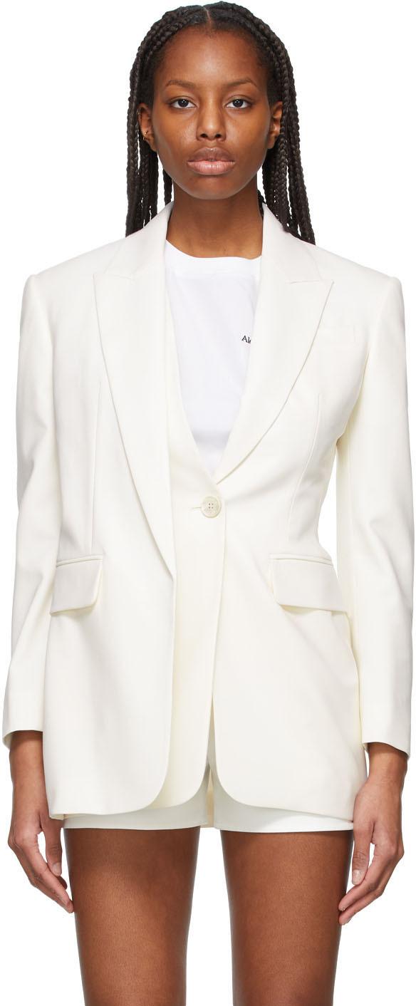 Alexander McQueen 灰白色 Draped 初剪羊毛西装外套