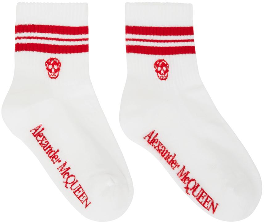 White & Red Stripe Skull Sport Short Socks