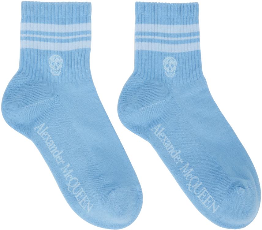Blue & White Stripe Skull Sport Short Socks