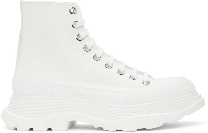 Alexander McQueen White Tread Slick High Sneakers