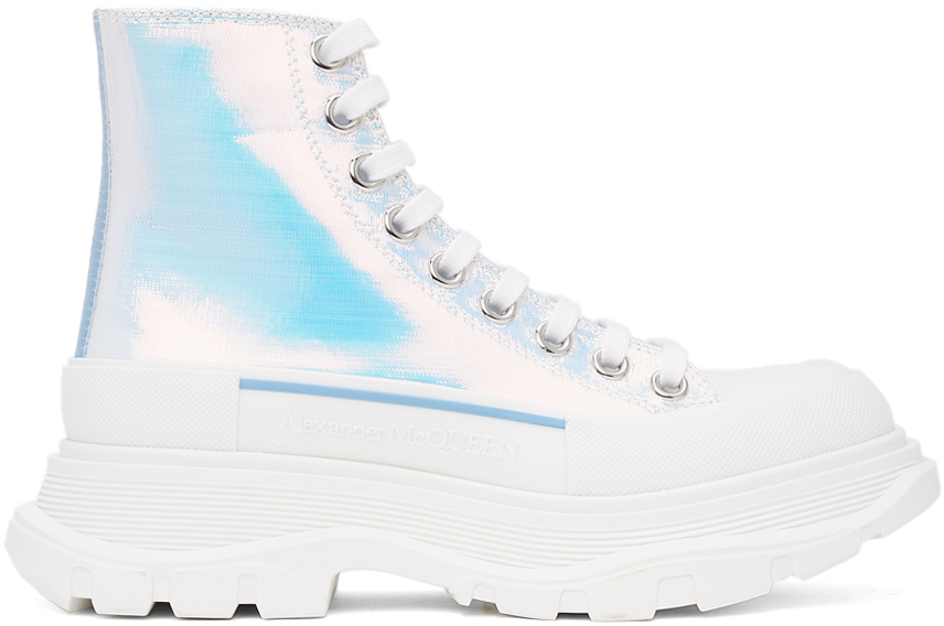 Alexander McQueen Silver Holographic Tread Slick Platform High Sneakers